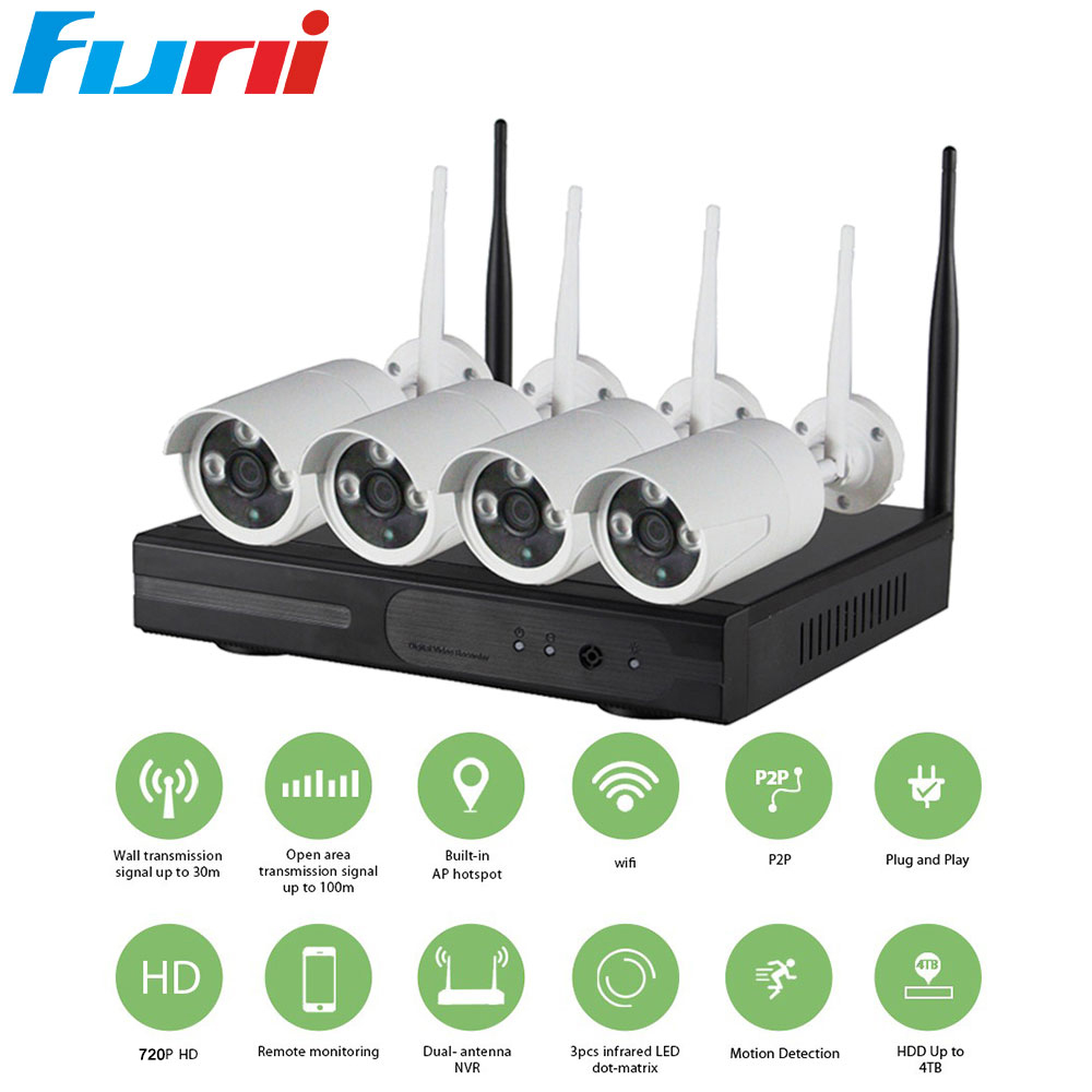 Funi 4CH 1080P Plug and Play HD Wireless NVR Kit P2P 720P Indoor Outdoor IR Night Vision Security IP Camera WIFI CCTV System