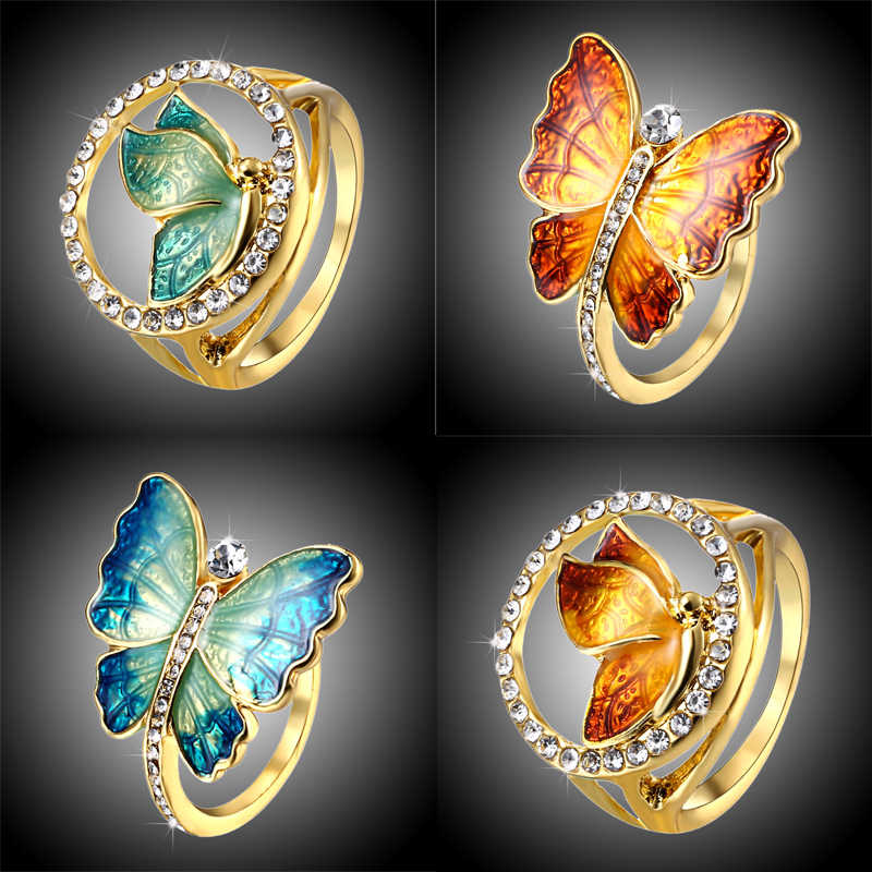 Enamel Blue Yellow Butterfly Ring Alloy Clear Rhinestone Lucky Rings Women Lover Girls Engagement Jewelry Birthday Gifts 17.5mm