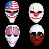 4pcs Payday 2 Mask New The Heist Dallas/Wolf/Chains/Hoxton cosplay Halloween Party horror chainsaw clown mask masquerade mask