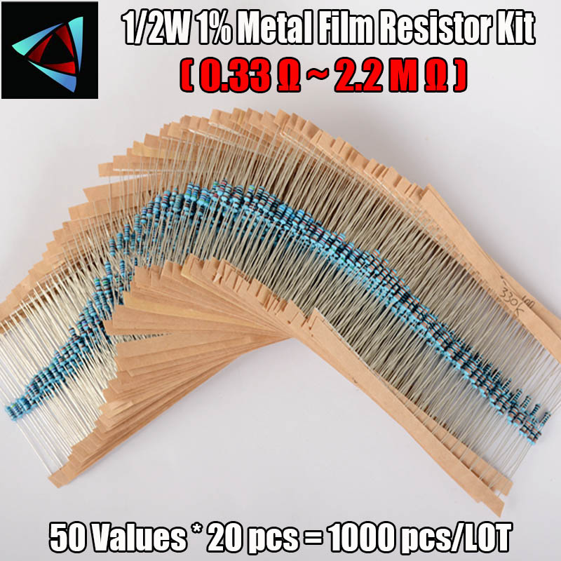 New! 50values 1/2W 0.5W 1% Metal Film Resistor 1000pcs Assortment Kit,(0.33R~2.2MR) High Quality