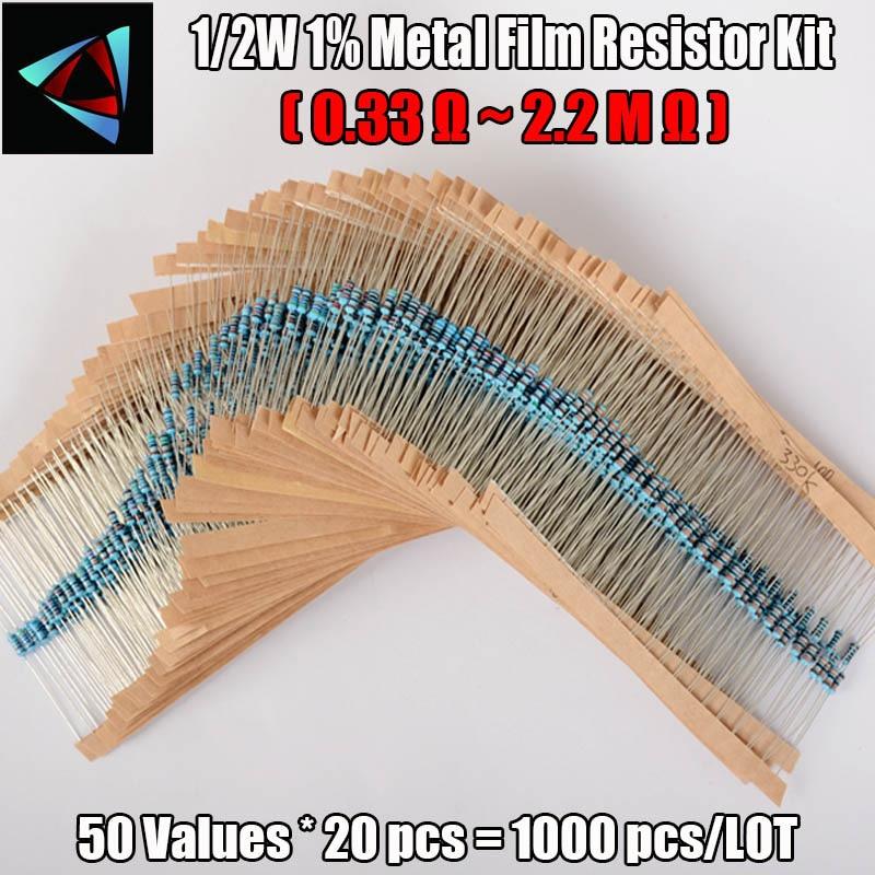 New! 50values 1/2W 0.5W 1% Metal Film Resistor 1000pcs Assortment Kit,(0.33R~2.2MR) High Quality