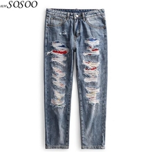 New Men Jeans Fashion Classic Patches ripped jeans for men High Quality European and American style Men Jeans Pants #TC047
