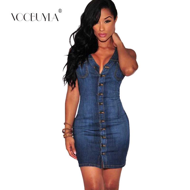 Voobuyla сексуальное платье с высокой талией без рукавов Мини Мягкие джинсы женское повседневное летнее платье плюс размер 3XL короткие джинсовые пляжные платья