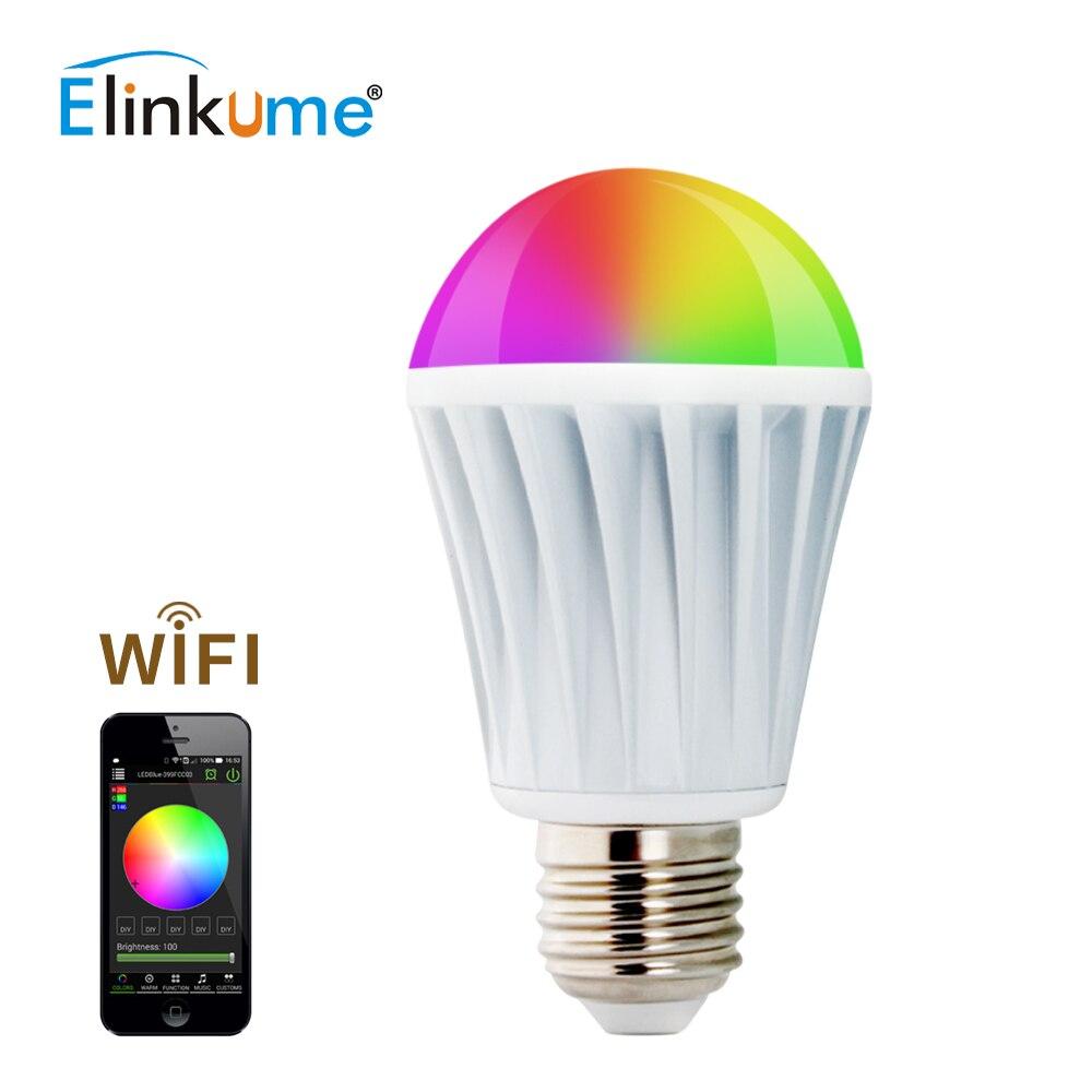 ELINKUME lumière LED ampoule Bluetooth Dimmable E27 7W coloré Wifi intelligent 1 pièces lampe d'éclairage sept couleurs RGBW ampoule maison lumière