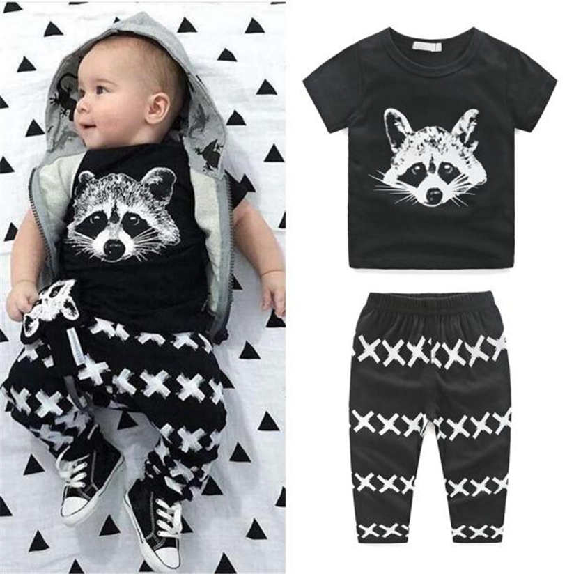 Summer Toddler Sports suit Newborn Kids Baby Boys Outfits T-shirt Tops+Pants Clothes Set with high quality 0-2 years oldM9