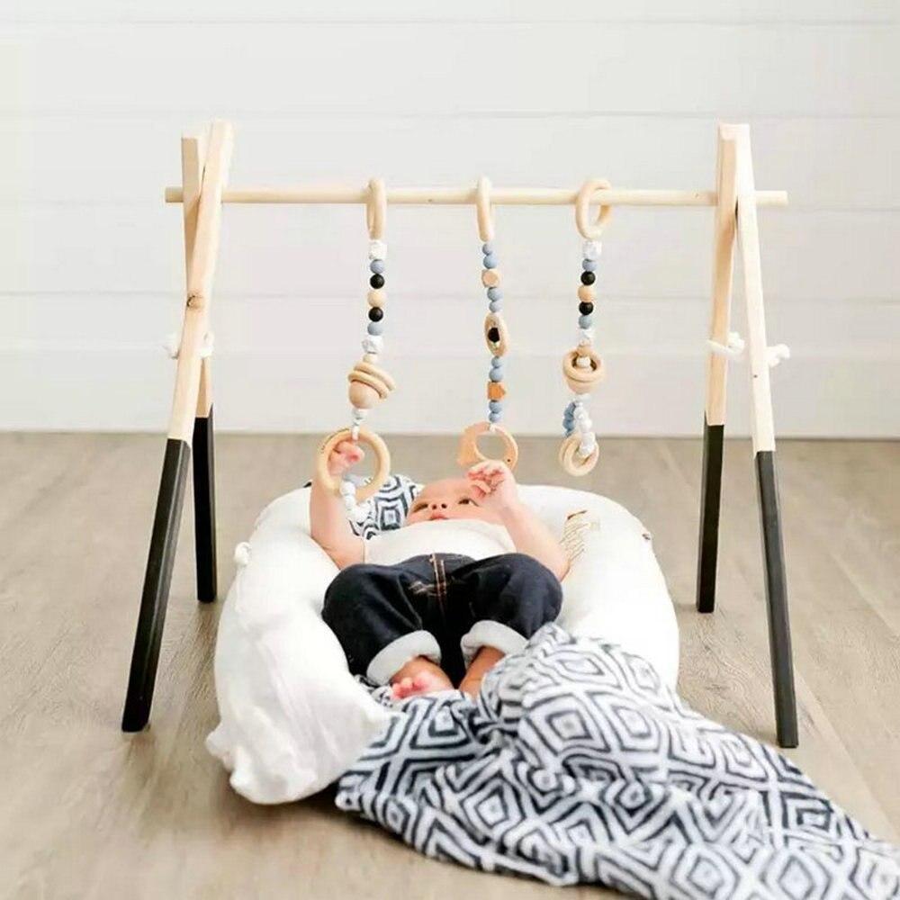 Nordique bois meubles en bois jouer Gym cadre jouets bébé Gym hochets enfants chambre pépinière décor accessoires nouveau-né photographie accessoires