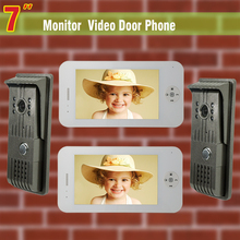 7 Inch monitor video door phone intercom system Video doorphone doorbell Kit visual intercom 2-night vision Camera 2-Monitor