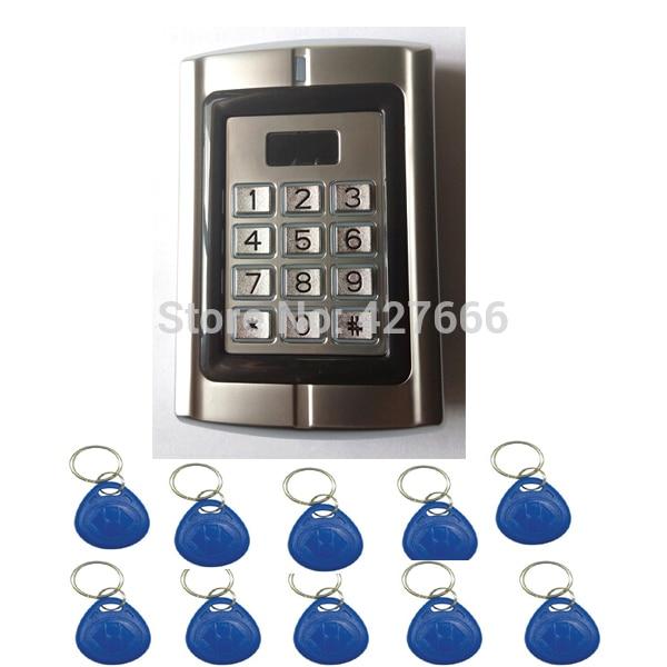 20PCS Keyfods Proximity Access Control Machine Door Entry Single Door Lock / Metal Keypad access control with 125K Card Reader ip68 proximity rfid 125khz 13 56mhz id ic keypad metal door access control standalone entry door lock keypad