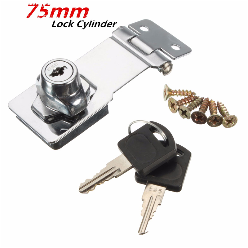 MTSPACE 75mm Stainless Steel Plating Self Locking Security Hasp Staple 2 Keys Lock Shed Cupboard Padlock Door/Shed/Gate/Van Lock warehouse door gate 60mm metal security lock padlock lengthening lock w 4 pcs keys