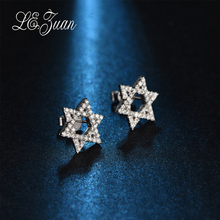 L&zuan New Small Star Earrings for Women 0.34ct Diamond Stud Earrings Valentine Gift Female Wedding Party 18K Platinum Jewelry