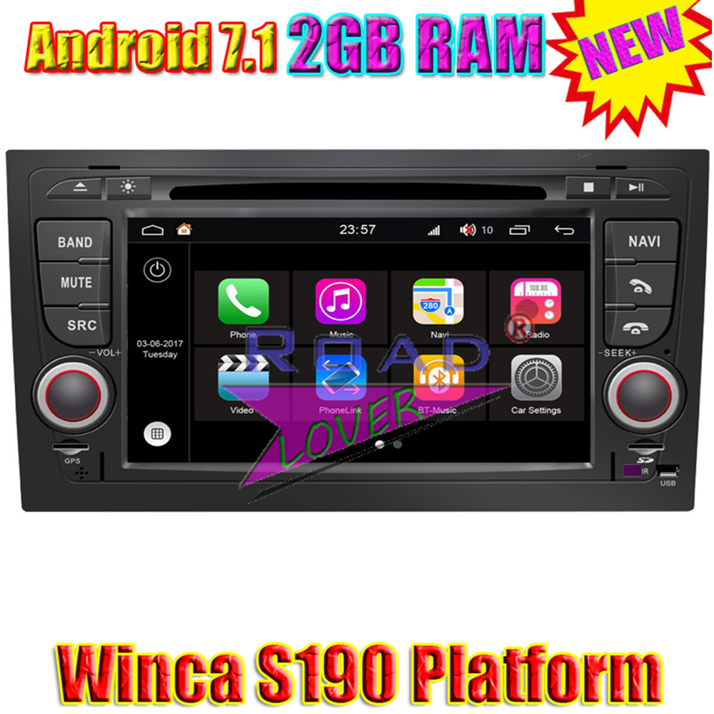 Winca S190 Android 7.1 Car Head Unit DVD Player Fitment Audi A4 2002-2008 Stereo GPS Navigation 7 Media Center Auto Radio 2Din