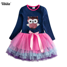 купить VIKITA Baby Girls Dresses Long Sleeve Girls Sequins Dress Star Print Party Dress Children Flare Sleeve Clothes Toddler Clothing дешево