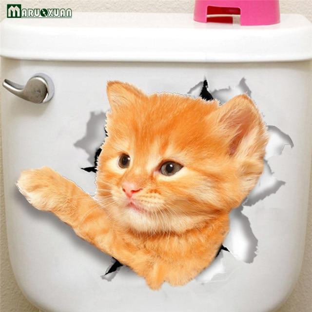 Maruoxuan 3d Cute Cat Waving Stickers Bathroom Toilet Cabinets