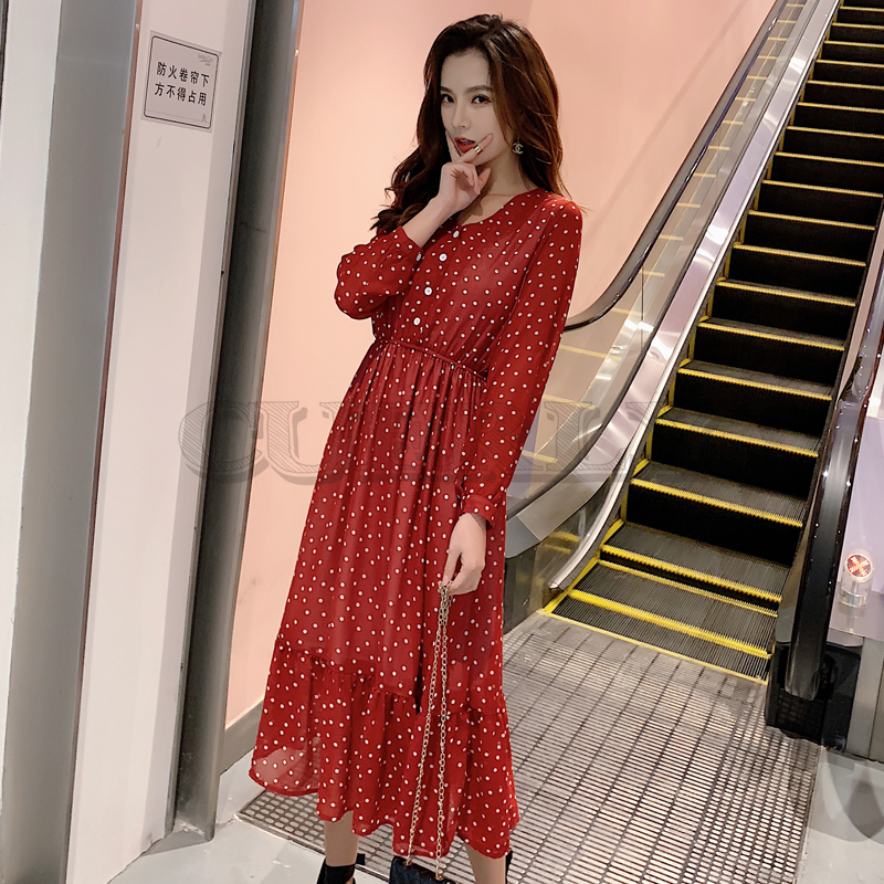 Two Layers V neck Dot Printed A line Women Long Dress Full Sleeve Female Chiffon Dress 2019 Elastic Waist CUERLY in Dresses from Women 39 s Clothing
