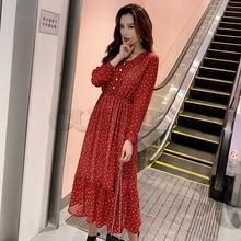 Two Layers V-neck Dot Printed A-line Women Long Dress Full Sleeve Female Chiffon Dress 2019 Elastic Waist CUERLY все цены