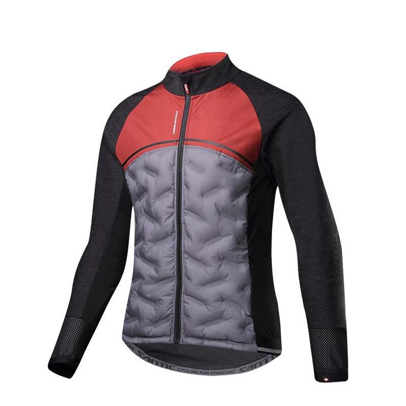 Santic nouveau d'hiver vestes de cyclisme hommes Garder au chaud à manches longues Jersey coupe-vent lumière de Randonnée En Plein Air tenue de vélo