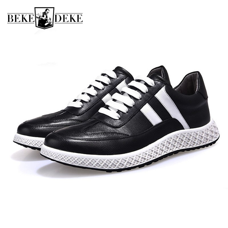 Fashion High Quality Leather Casual Shoes Men 2018 Lace Up Hip Hop Sneakers Male Outside High Street Footwear Zapatos De Hombre adboov fashion camo sneakers men hip hop shark low top skateboarding shoes lace up street leather casual shoes flats