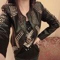 Мода заклепки женщин стимпанк Стиль Короткие Куртки Рок Пальто High Street Wear Женщин Пиджаки Kinomo Весна Осень 2017 CO31