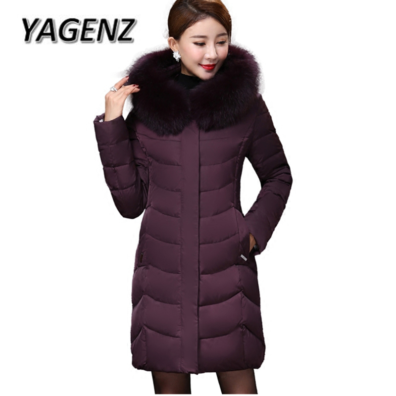 2018 High-grade Middle-aged Down Fox fur collar Winter Jacket Hooded Coats Large size Thick Warm Parkas Women Long Outerwear 6XL large size winter parkas women hooded jacket coats korean loose thick big fur collar down long overcoat casual warm lady jackets