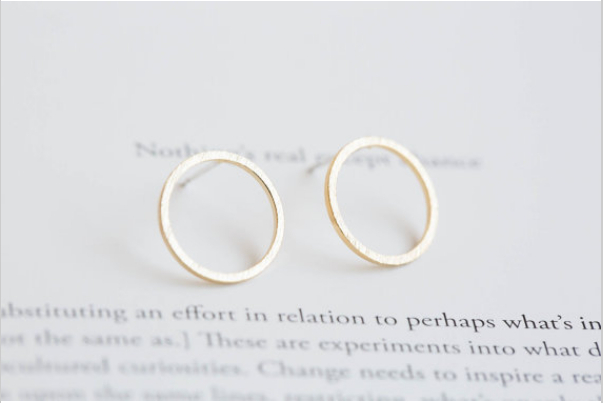 Fashion  18 k gold plated silver plating rose gold circle hollow stud earrings for participants in wholesale free shipping