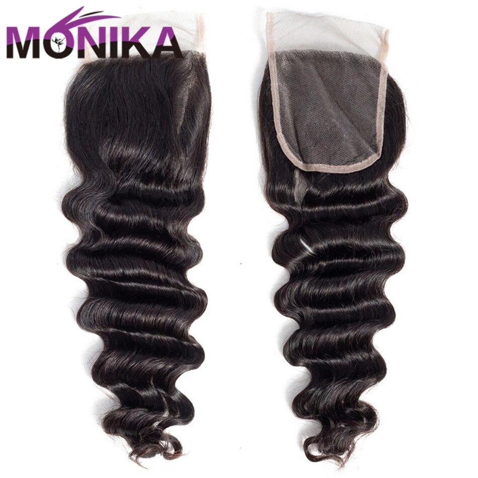 Monika Hair Loose Deep Wave Closure Brazilian Hair Weave Bundles 4x4 Lace Middle/Free Part Closure Non Remy Human Hair Extension