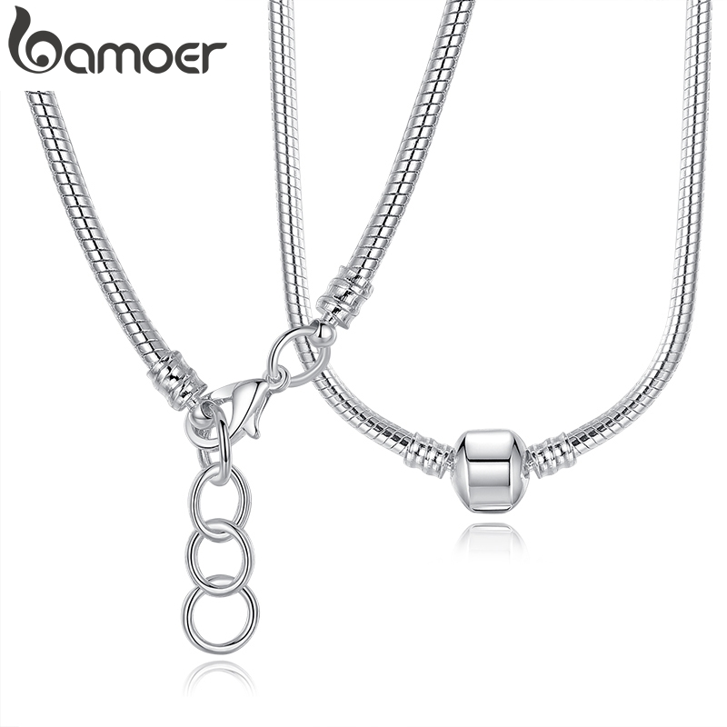 BAMOER Chain Necklace Jewelry Charm Snake Silver 925 Original PA2130 2-Style 45cm-Length