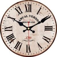 Vintage Roman Number Design Clock Brief Silent Living Room Cafe Kitchen Clocks Home Decor Art Large Wall Clock No Ticking Sound|Wall Clocks|   -