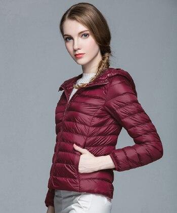 Складываемая женская зимняя куртка с длинным рукавом, однотонное женское теплое пуховое пальто, Новое Женское зимнее пальто с капюшоном Casaco Feminino - Цвет: Wine red