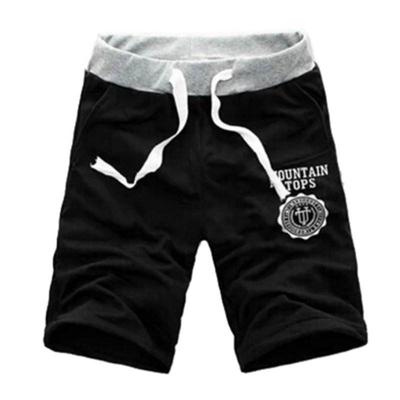 2016 Men Elastic Waist Short Trousers Casual Jogger Gray Black Shorts Sweatpants Fitness Workout Exercise Cotton Shorts