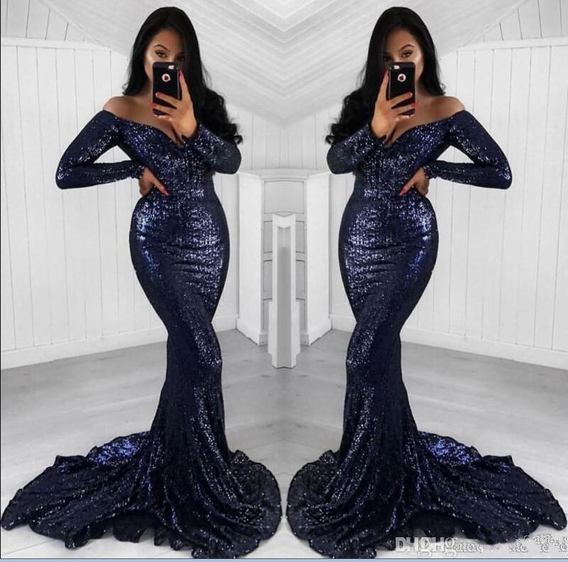 Paillettes 2019 marine foncé sirène robes de bal manches longues hors épaule robes de soirée robe formelle tenue de soirée robes de soirée