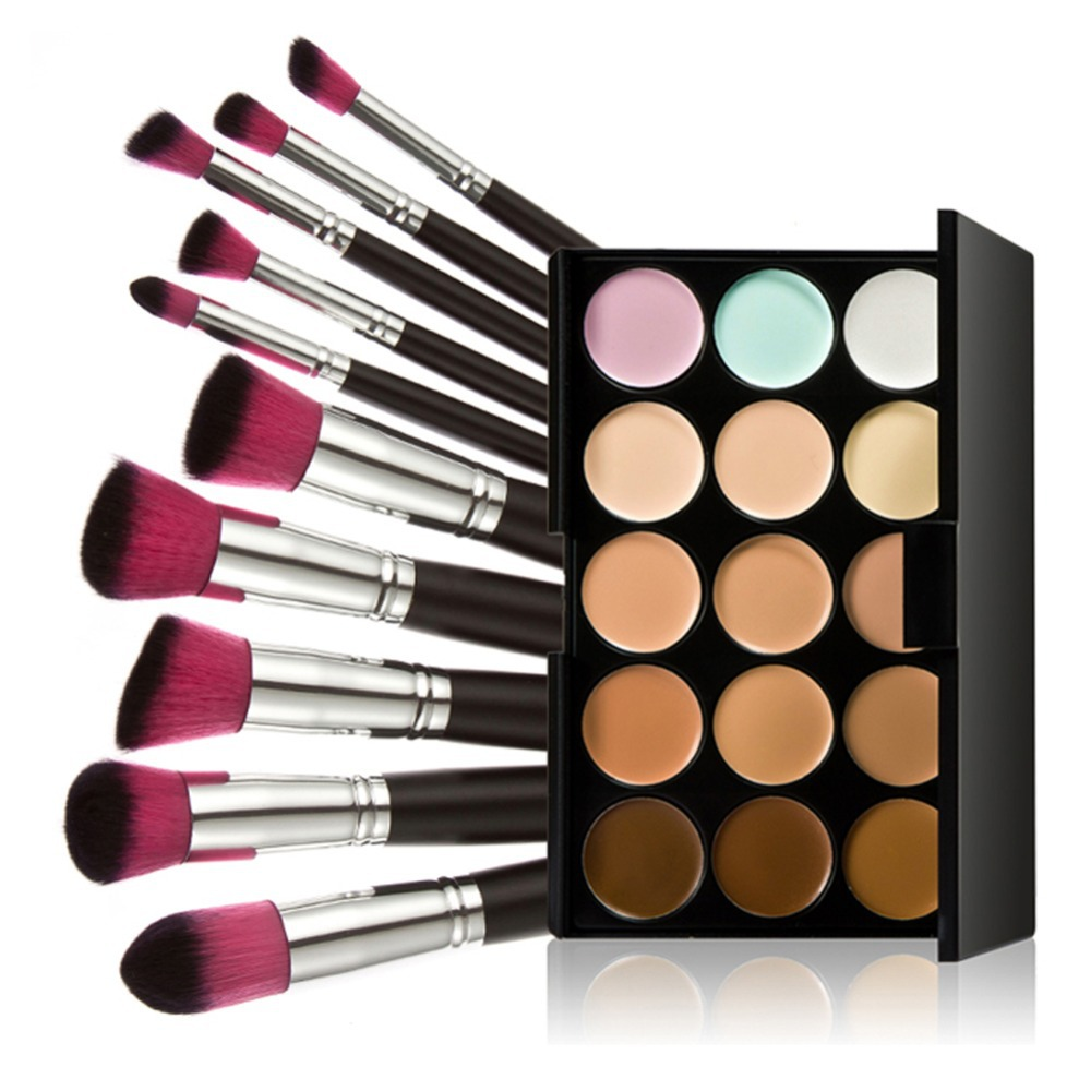 15 Colors Makeup Concealer Cream Palette Pressed Foundation Powder Contour Cosmetic Palette 10pcs Face Blush Makeup Brushes makeup base color corrector contour cream concealer palette