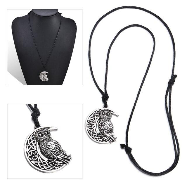 Moda mujeres hombres Vintage diosa pendiente de luna creciente b ho cuerda cadena collares para regalo