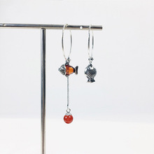 925 sterling silver Thai asymmetrical new year red stone koi fish animal vintage hoop earrings for women fashion 2019