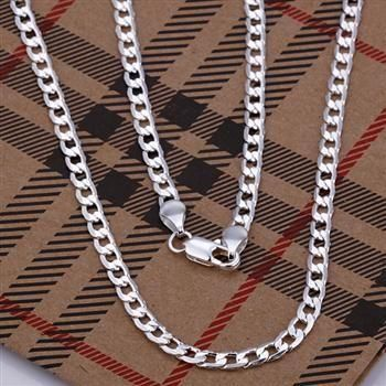 N132-20 925 jewelry silver plated  Necklace, silver plated   Pendant fashion jewelry  4mm Necklace-20 inches /aneajela dyuamqba