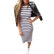 2018 Summer Fashion Stripe Summer Dress Women Long Maxi BOHO Sundress Slim Beach Cotton Loose Casual