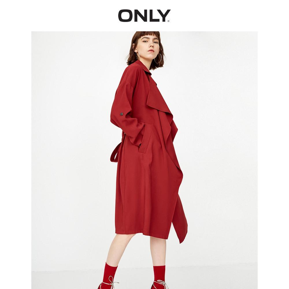 ONLY Women's Lace-up Waist Belt Long Wind Coat | 118336504