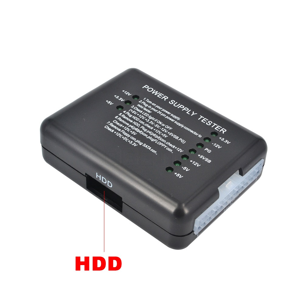 1 pc 20 24 Pin PSU ATX SATA HDD Power Supply Tester LED Indication Diagnostic Tool