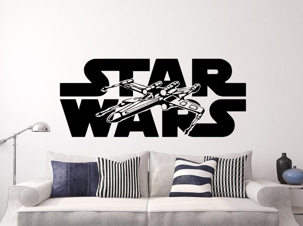 Hot Movie Star War X-wing Wall Sticker Home Decoration Kids Boys Bedroom accessories muusticker Wall adesivo Fighter NY-231