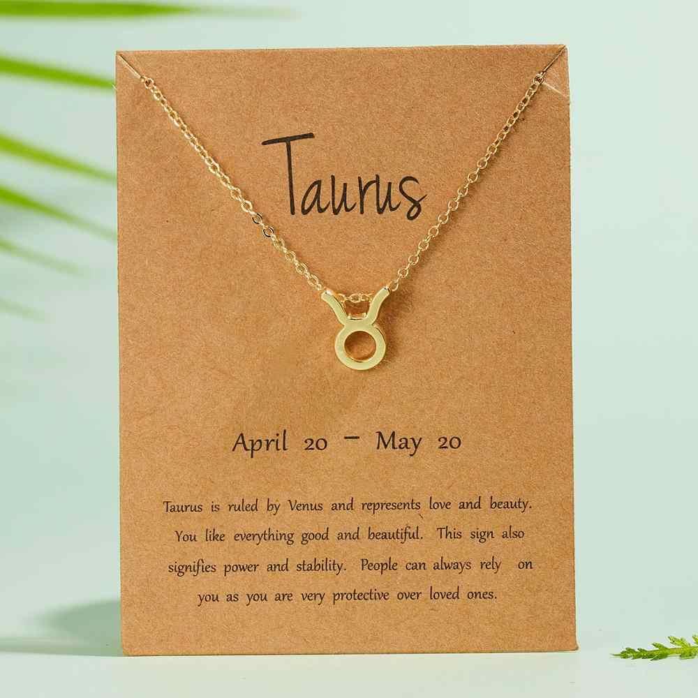 Mujer elegante estrella Zodiaco signo 12 constelación collares colgantes encanto oro collares de cadena de Gargantilla para mujer joyería Dropship