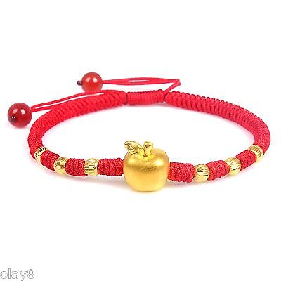 Pure 999 24K Yellow Gold Women 3D Apple Bead Knitted Bracelet Size AdjustablePure 999 24K Yellow Gold Women 3D Apple Bead Knitted Bracelet Size Adjustable
