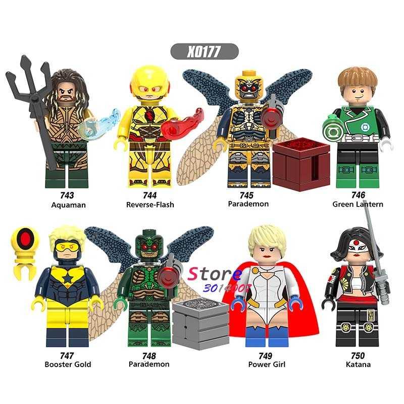 SINGLE Super HERO DC การ์ตูนย้อนกลับ-แฟลช Power Girl Parademon Gooster GOLD Katana Aquaman อาคารบล็อกของเล่นเด็ก
