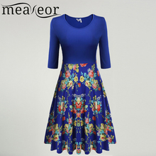 Meaneor Large Swing Floral Print Slim Pleated Dress Women Medium Sleeve Retro 60S 70S Vintage Dress