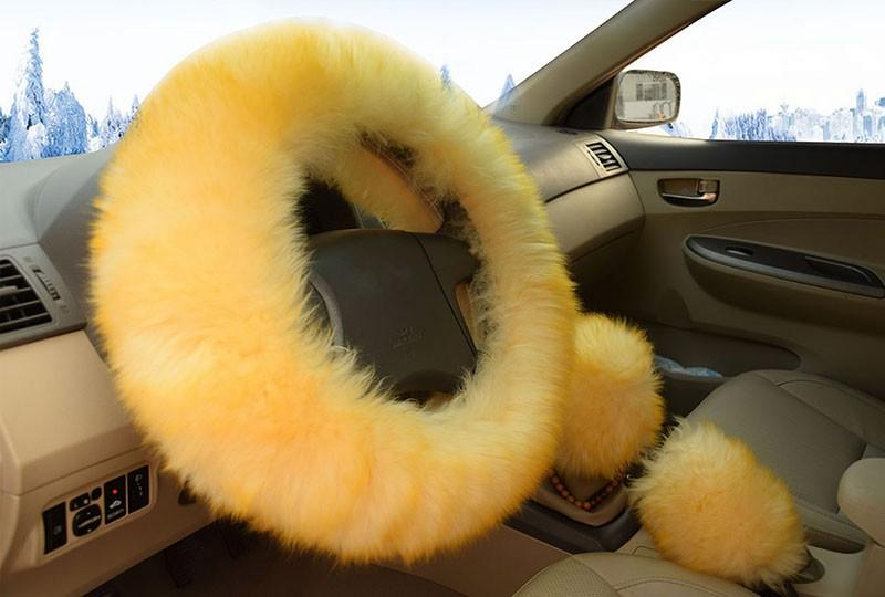 Winter Warm Wool Handbrake Cover Gear Shift Cover Steering Wheel Cover 38cm diameter 1 Set 3 Pcs 4