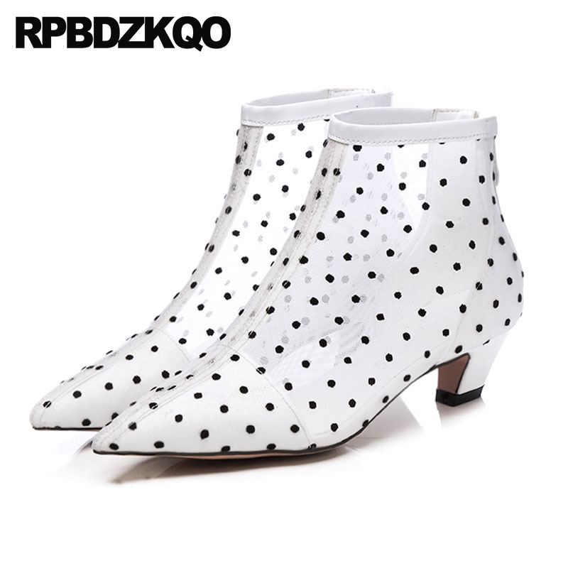 Chunky Summer Women Ankle Boots Medium Heel Booties Pointed Toe Mesh Genuine Leather Designer Shoes Luxury Sandals Polka Dot polka dot ankle strap block heel sandals