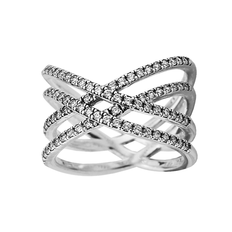 Authentic 925 Sterling Silver Cosmic Lines Rings with Clear CZ for Women DIY Fine Jewelry SR146Authentic 925 Sterling Silver Cosmic Lines Rings with Clear CZ for Women DIY Fine Jewelry SR146