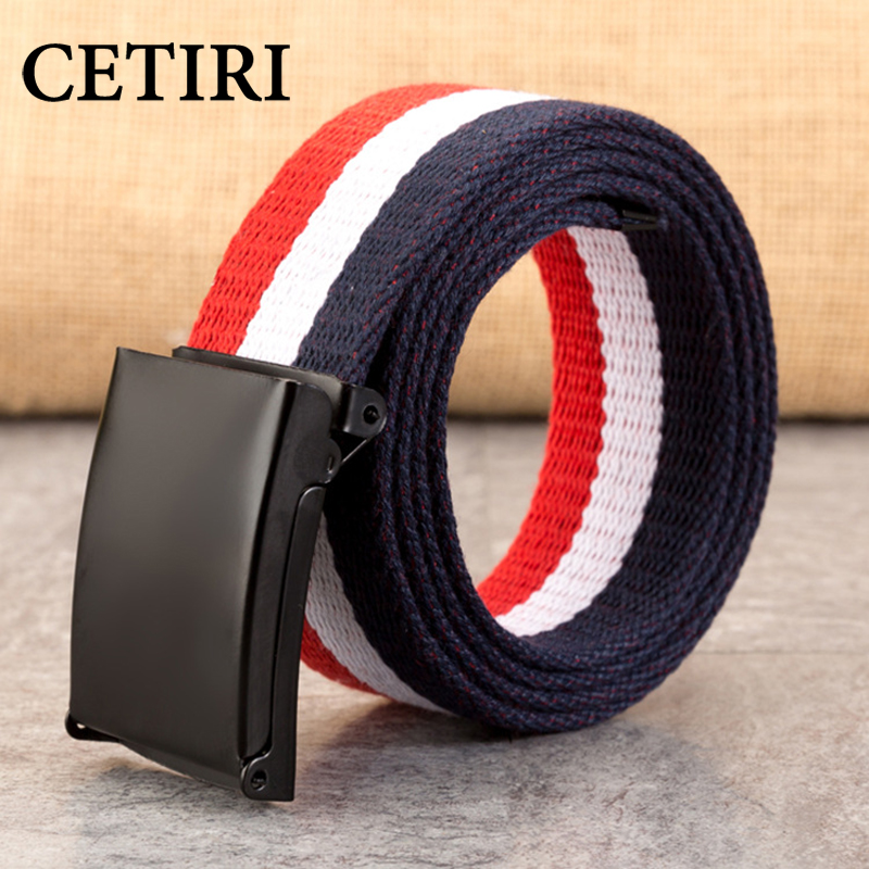 100-140cm Plus Size Brand Canvas Belt Men Women Smooth Buckle Automatic Buckle Belt Fashion Ranbow Jeans Belt Candy Color