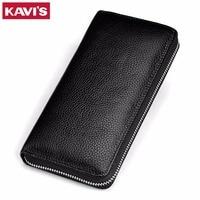 KAVIS Brand Genuine Leather Wallets Men Coin Purse Clutch Long Large Perse Business Vallet Phone Walet Handy portomonee Rfid