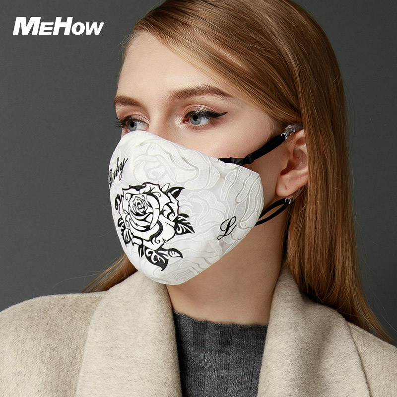 MeHow White Face Mask Mouth mask Flower embroidery Anti Fog Haze Pollution Bacteria Pollen pm2.5 Nose Filter Halloween Mask marilyn monroe printed gas pollution anti dust and haze mouth mask