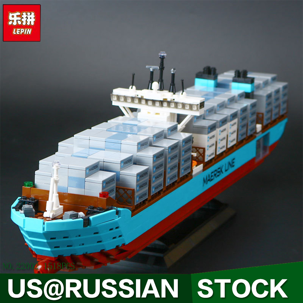 Lepin 22002 Technic Series The Maersk Cargo Container Ship Set Educational Building Blocks Bricks 1518Pcs Model Toys Gift ynynoo lepin 02043 stucke city series airport terminal modell bausteine set ziegel spielzeug fur kinder geschenk junge spielzeug
