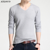 Brand Clothing Solid Color Pullover Men V Neck Sweater Men Long Sleeve Shirt Mens Sweaters Wool